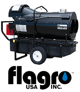 Flagro 400 indirect fired heater with Flagro logo