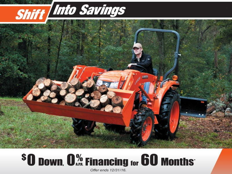 Kubota Shift into Savings Sales Event. $0 down, 0% Financing for 60 months.