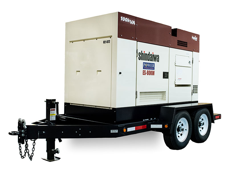 Trailer-mounted Shindaiwa DGK100D 100kVA/80kW 3-phase generator set