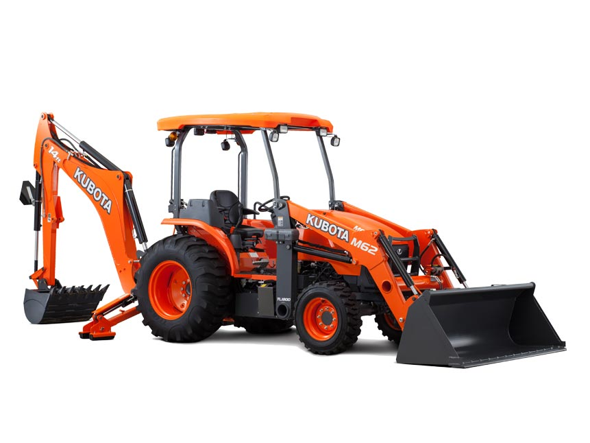 Kubota M62 tractor / loader / backhoe combination