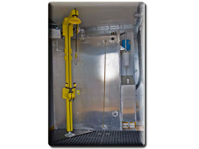 Emergency shower trailer interior