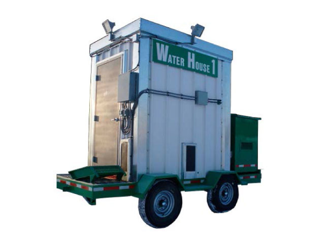 Water house mounted on trailer
